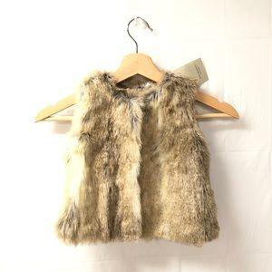 ZARA Sz 12-18 months girls fur vest jacket NWT